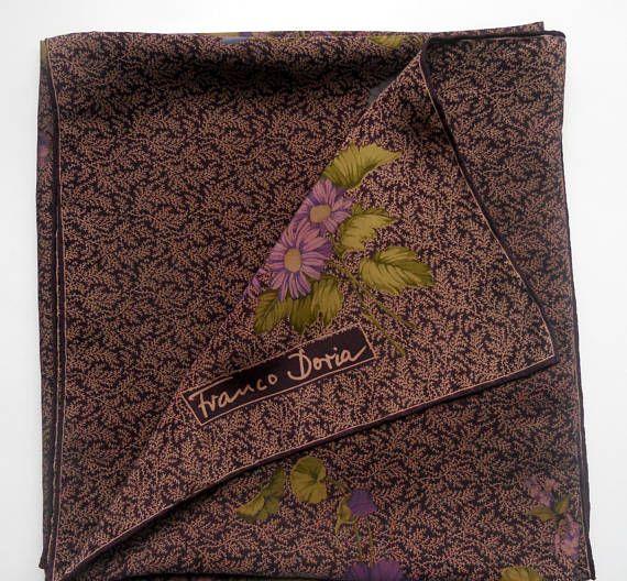 Women accessories Vintage Silk scarf Franco Doria  purple