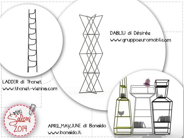 #anteprime #salone a confronto: due porta abiti e uno scaffale componibile. #ThonetVienna #Désirée #Bonaldo #imieisaloni2014 http://www.modaearredamento.com/?p=1217