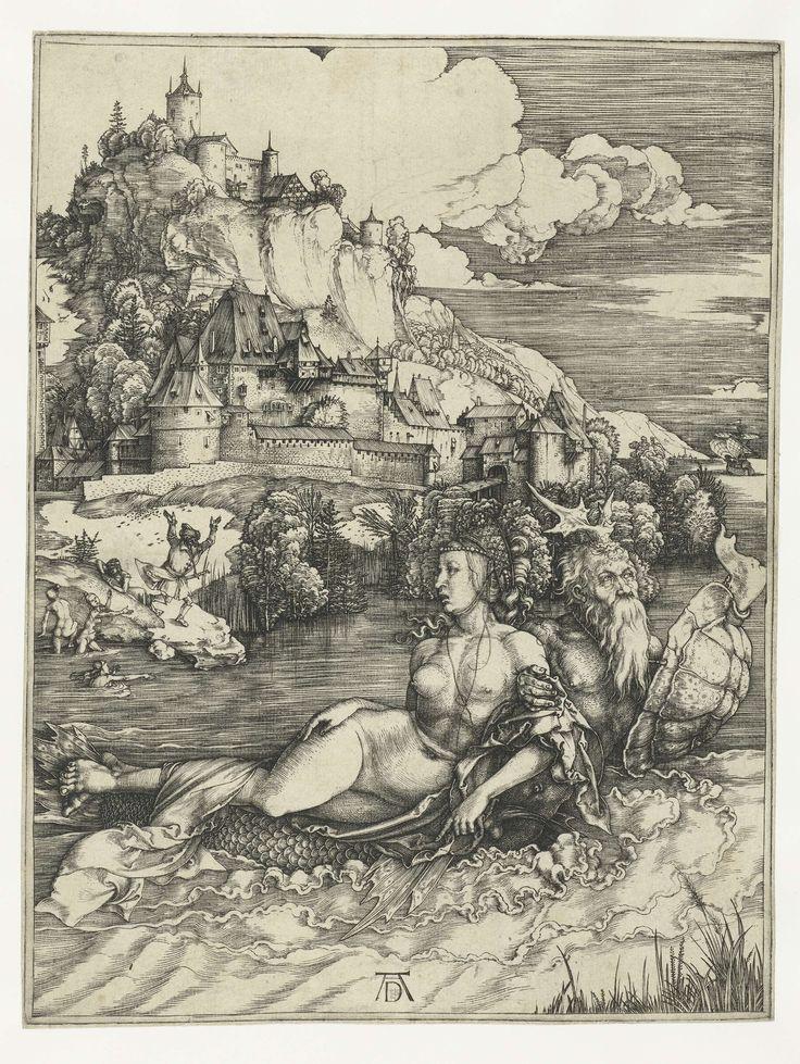 Albrecht Dürer | Het zeemonster, Albrecht Dürer, 1496 - 1500 | Een waterwezen - bovenlijf van een man, onderlijf van een vis, hertengewei op het hoofd, schildpadschild aan de arm - voert een naakte jongedame mee in een baai. Aan de kust, nabij een burcht of stad heft een man in wanhoop de handen en baden enkele dames.