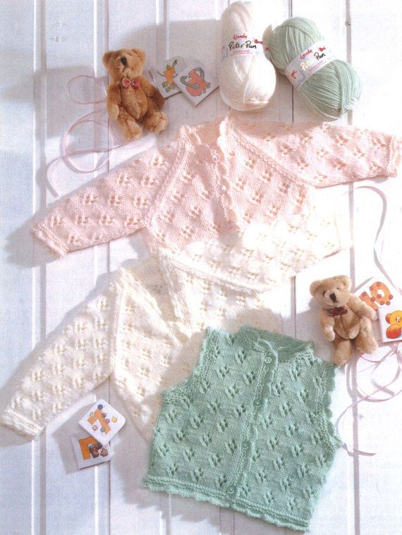 Knit Baby Toddler Cardigans and Vest Round by GrannyPatternStore