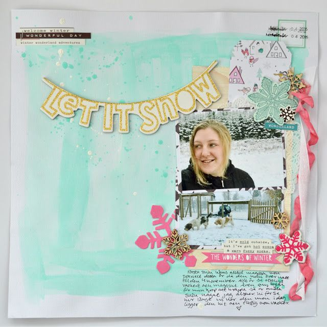 "studio Julia K: ""Let it Snow"" 12x12 scrapbook using Crate Paper Snow & Cocoa"