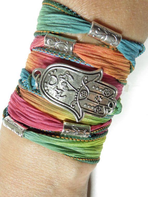 Bohemian Hamsa Silk Wrap Bracelet Yoga Jewelry Hamsa Bracelet Hamsa Jewelry Hamsa Fall Wrist Wrap Ribbon Bracelet Hand Of Fatima For Her