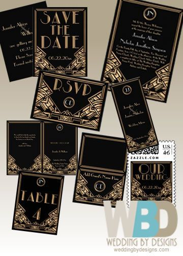 Art Deco Wedding Invitation Suite #artdecowedding #artdeco #weddinginvitation  www.weddingbydesigns.com