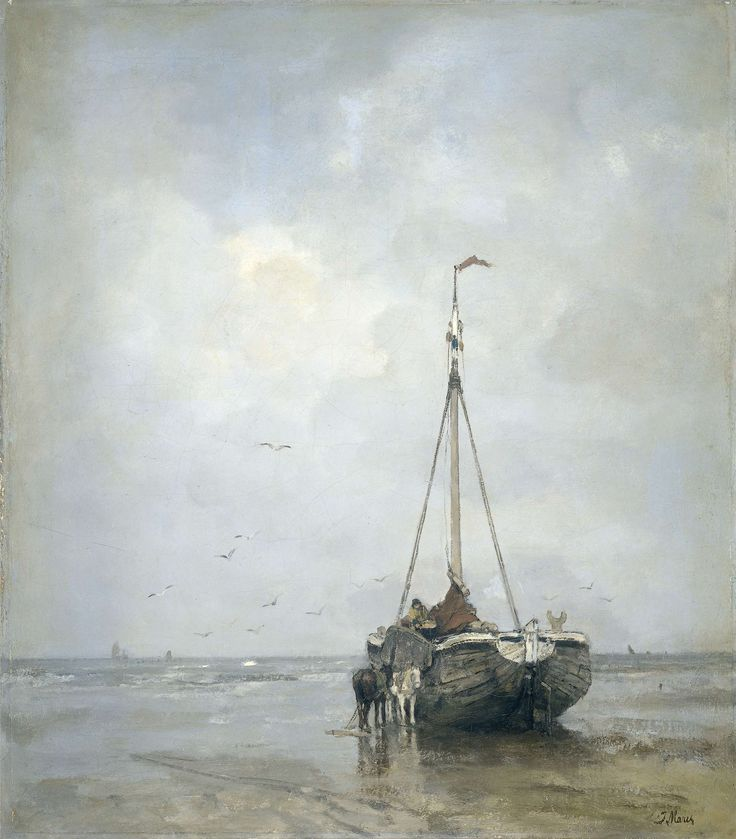 Bluff-bowed Fishing Boat on the Beach at Scheveningen, Jacob Maris, c. 1885