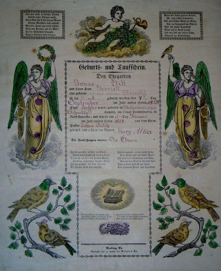 1868 Taufschein Geburts Antique Baptism Birth Certificate Fraktur