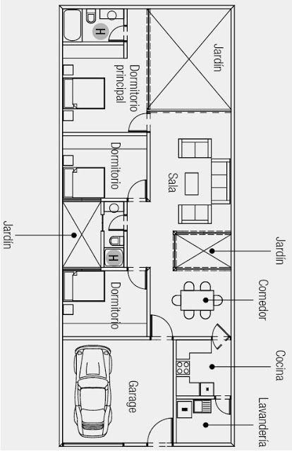 417 best 1 planta images on pinterest house blueprints for Planos de casas de una planta