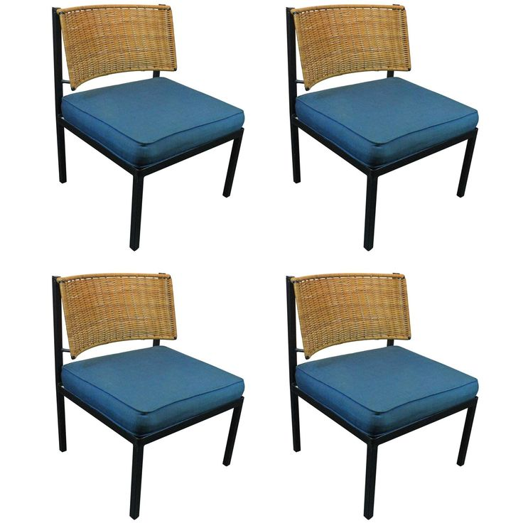 Mid-Century Modern Iron and Rattan Lounge Chairs