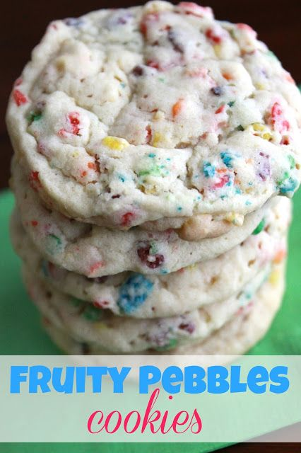 Fruity Pebbles Cookies: 1 (3.4 oz) package instant vanilla pudding mix 1 ½ sticks butter 1 cup granulated sugar 2 eggs 1 teaspoon vanilla extract 1 tsp baking soda 2 cups Fruity Pebbles cereal 2-1/4 cups flour