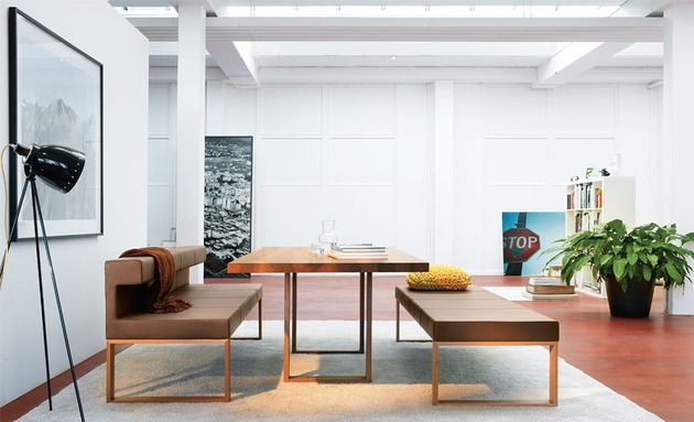 Minimalist Max table with awesome bench seating.