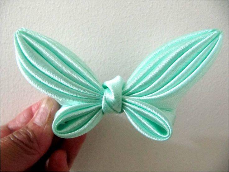 Moños para el cabello  en cintas mariposa alas verde mar flower butterfl...