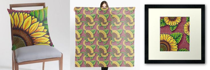 Fun sunflower imagery on Dorothy Siemens' RedBubble shop. http://dorothysiemens.com/redbubble-merchandise-prints-home-decor-and-more/
