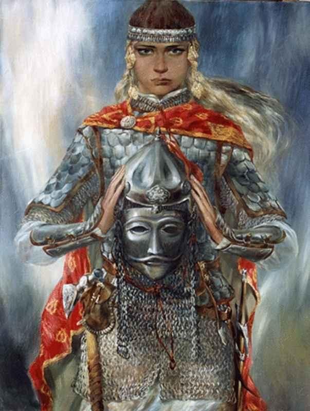 Жени войни от Волжка България художник Булат Гилванов