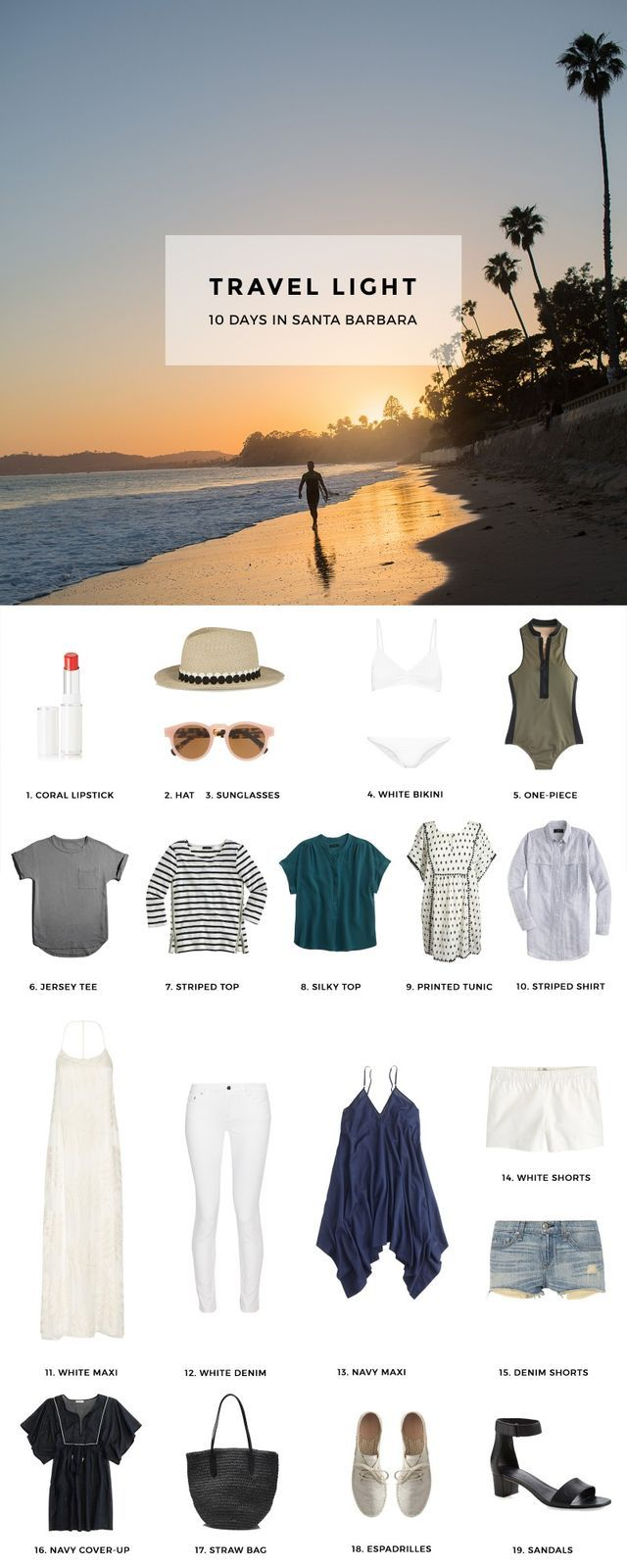 1. Coral Lipstick / 2. Trimmed Fedora / 3. Pink Sunglasses / 4. White Bikini / 5. One-Piece Swimsuit / 6. Jersey Tee / 7. Striped Top / 8. Silky Top / 9. Printed Pom Pom Tunic / 10. Striped Shirt / 11