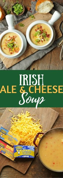 Our warm, gooey Irish Ale & Cheese Soup is the perfect meal for St. Patricks day! Easy to make and filled with 4 different kinds of cheese and plenty of bacon, this is the ultimate comfort food!