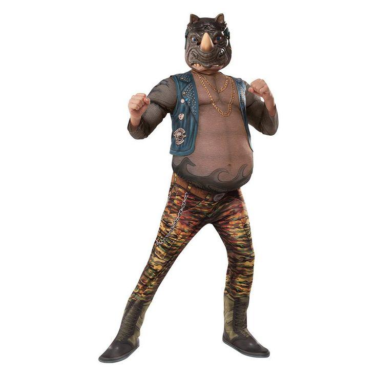 Kids Teenage Mutant Ninja Turtles Movie 2: Rocksteady Deluxe Muscle Costume, Boy's, Size: Medium, Multicolor