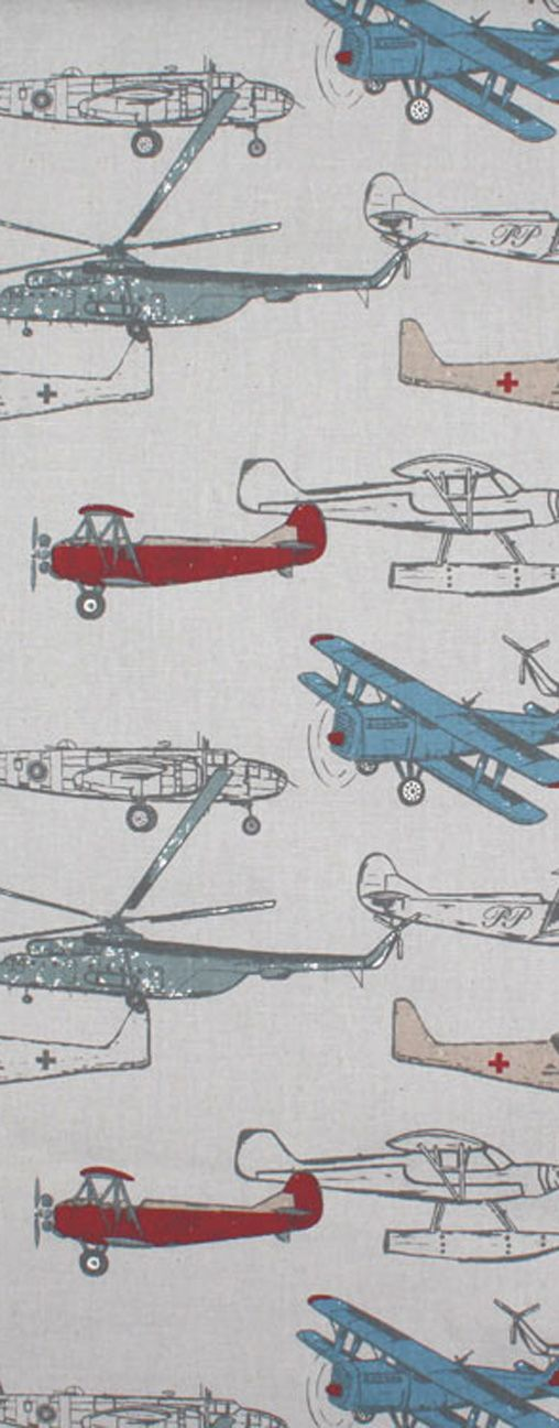 Red, gray and blue Airplane fabric by Premier Prints would be cute and affordable curtains or decor option for a boy's bedroom.