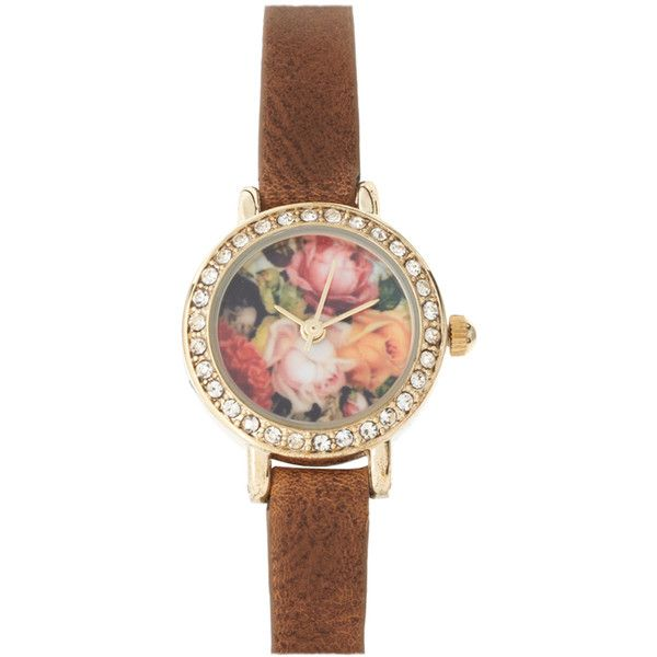 River Island Watch With Floral Face ($24) ❤ liked on Polyvore featuring jewelry, watches, accessories, bracelets, fillers, floral jewellery, floral watches, floral jewelry, river island watches and river island