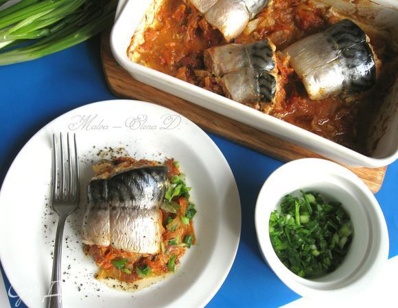 Скумбрия в овощах. Ингредиенты: скумбрия, йогурт натуральный, горчица дижонская
