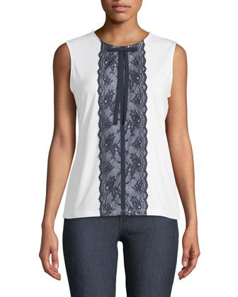 a2e657b8ff5 Lace-Front+Sleeveless+Top+by+Karl+Lagerfeld+Paris+at+Neiman+Marcus+Last+Call .