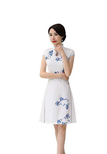 ACVIP Femme Qipao Cheongsam Court Moulant Robe de Asiatique Fleur Fendu (EU  40 Chinois 9f18eb78fdd7