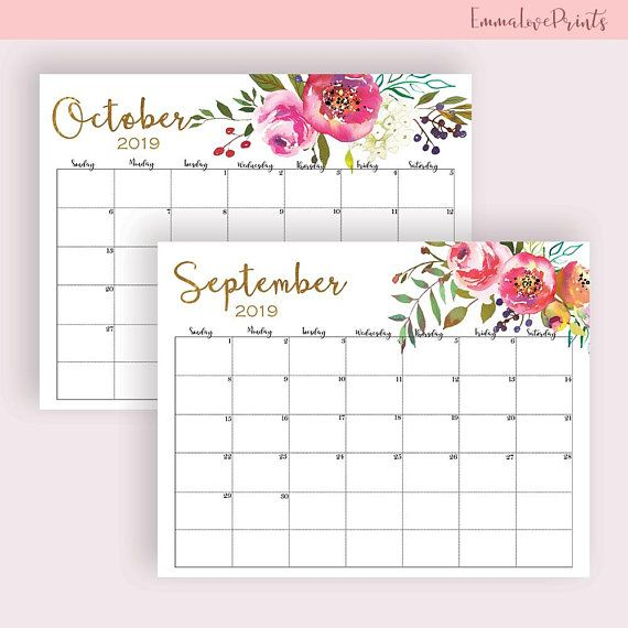 Wall Calendar 2019 Printable Floral Watercolor Horizontal Large