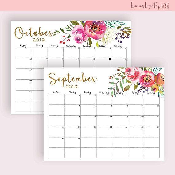 Wall Calendar 2019 Printable Floral Watercolor Horizontal Large