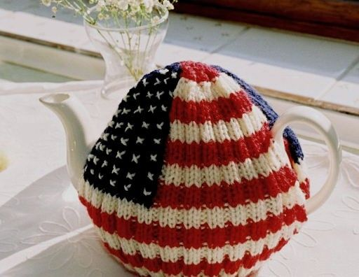 I'm a little teapot..  Stars and Stripes Hand Knitted Tea Cosy. $15.99, via Etsy.