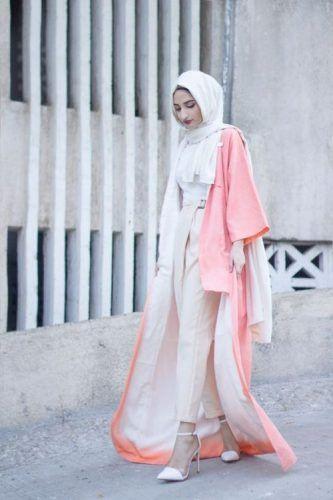 long neon pink abaya hijab