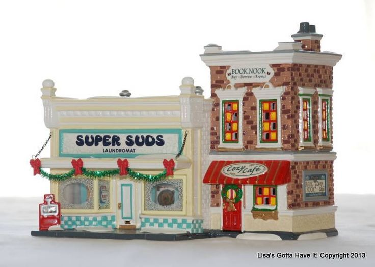 "Dept 56 Snow Village Christmas ""SUPER SUDS LAUNDROMAT"" Book Nook Cafe #55006 MIB"