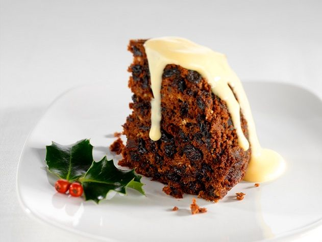 Plum Pudding Served with Vanilla Custard
