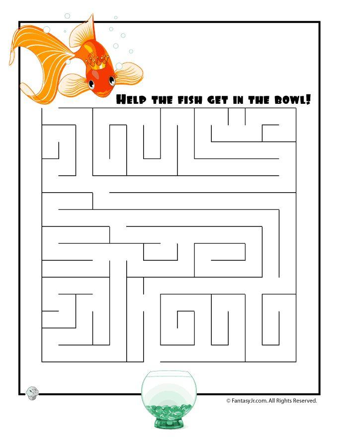 Easy Kids Mazes Easy Goldfish Maze – Fantasy Jr.