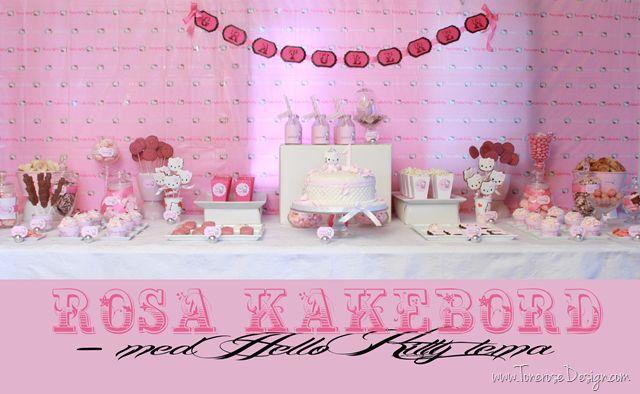 Pink hello kitty sweet table - hello kitty barnebursdag rosa