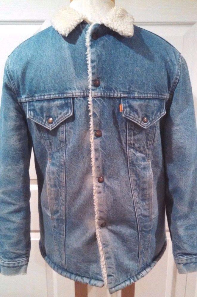 Mens Levis Sherpa Denim Jacket Size 42 Snap Up Coat Blue  #Levis #DenimSherpaSnapUpJacket