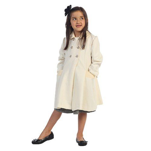 Quality  Angels Garment Toddler Girls Ivory Double Breasted Wool Coat 3T