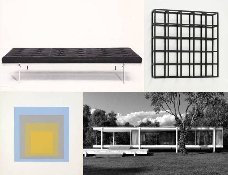 Fabricius & Kastholm and their contemporaries: Daybed by Fabricius & Kastholm - 1964, 'Cubic-Modular Wall Structure' by Sol LeWitt - 1966, from 'Homage to the Square' by Josef Albers - 1962, Farnsworth House by Mies van der Rohe - 1951.