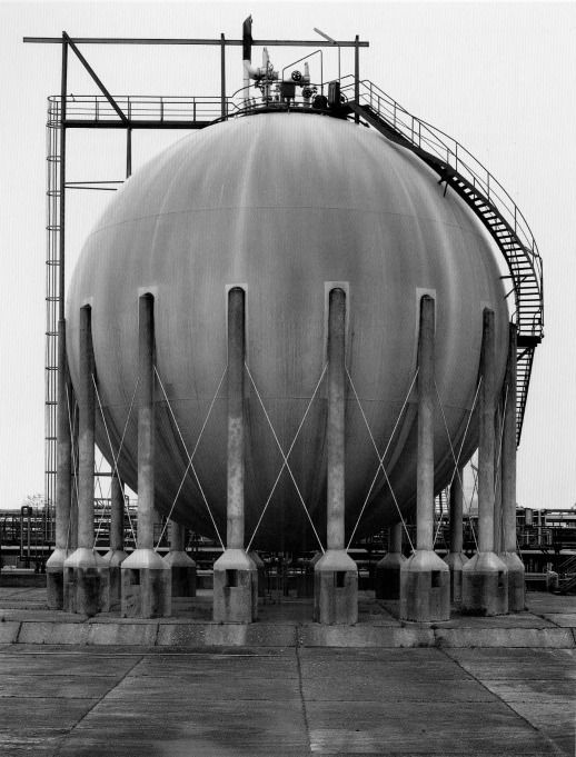 Bernd & Hilla Becher, Large, steel storage tank, c. 1960
