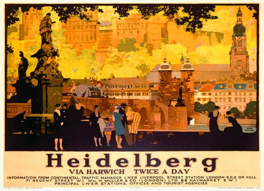 Heidelberg LNER Poster Giclee Art Print    This is a fine art giclee print featuring a vintage travel advertising poster for London & North Eastern Railway, LNER, by artist Fred Taylor.