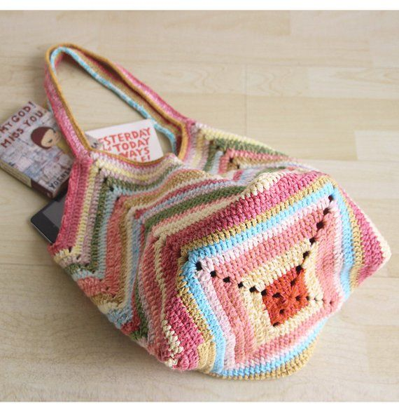 Crochet beach bag Crochet market bag multicolor Crochet bag