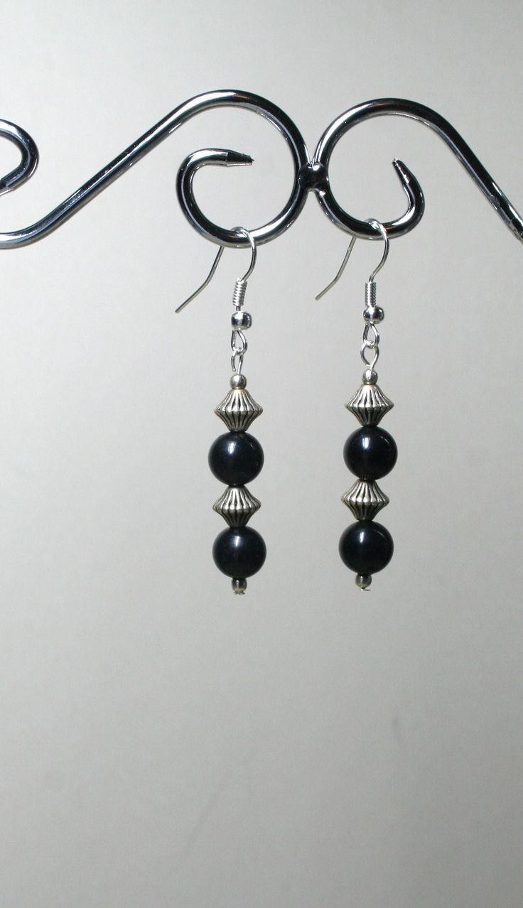 Black and silver bead earrings  €5.00  www.facebook.com/Supposejewellery