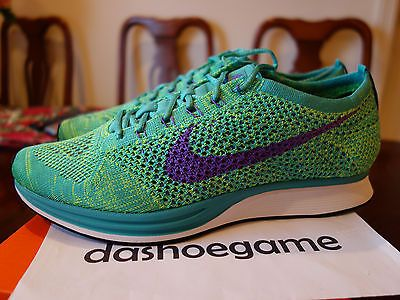 NEW Nike Flyknit Racer Multicolor Turquoise Hyper Grape Green 526628-301 Sz: 9