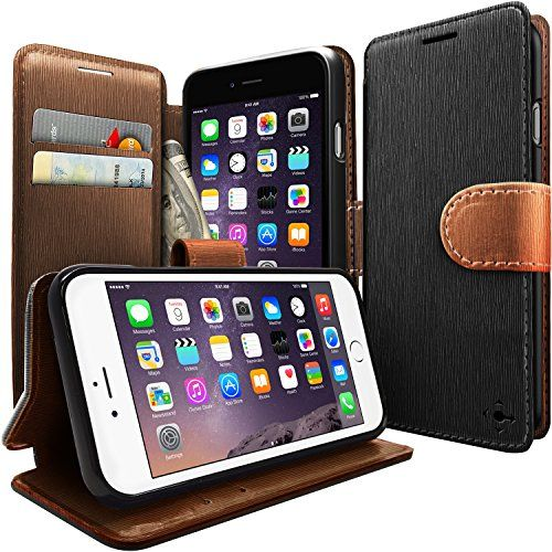 iPhone 6 case Caseology [Leather Wallet Case] [Black / Brown] ID Credit Card with Inner Pocket [Stand View] Apple iPhone 6 case