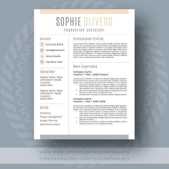 Resume Template Word by ResumeFoundry on @creativemarket