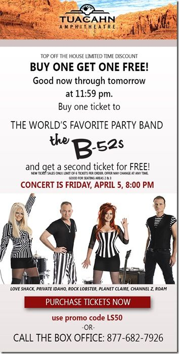 Date night idea: Buy one get one free concert tickets to the B-52s at Tuacahn! #tuacahn #stgeorge #dixiedollardeals