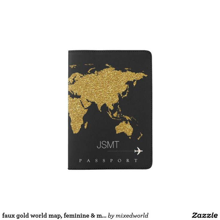 PASSPORT HOLDER. . .Faux Gold World Map, feminine & modern travel passport holder. A faux gold map of the world on black, with the image of a small air-plane, personalized with the name and initials of the stylish traveller.  . . . For LOTS MORE World Map Passports see my board . . . . . . or for EVEN MORE - Click Visit to find the whole collection.