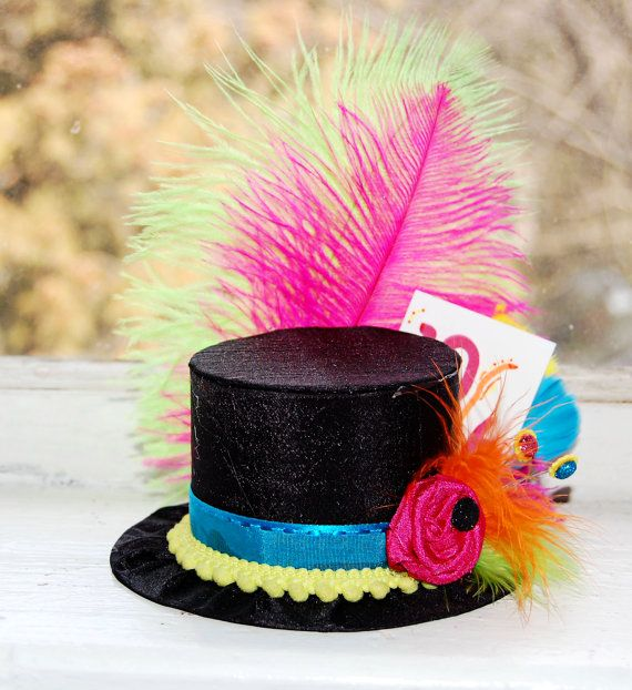 Mad Hatter Mini Top Hat in NEON colors by LittleLadyAccessory. $26.00, via Etsy.