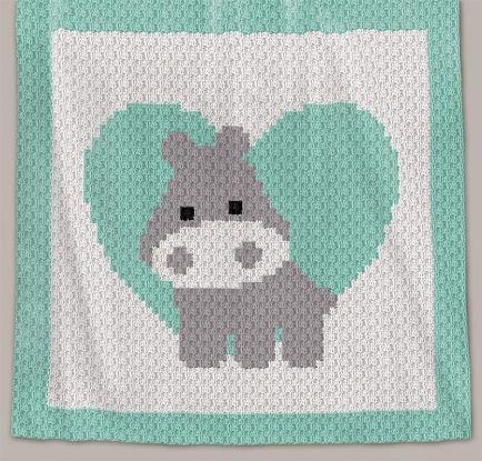 Crochet Pattern   Baby Blanket - Love Hippo - C2C (RBR)