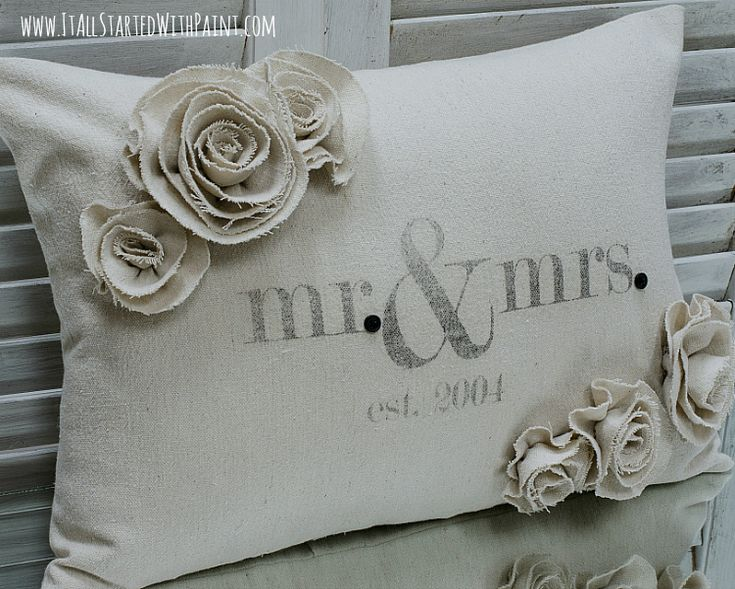 Mr & Mrs Pillow from drop cloth with rosettes | It All Started With Paint