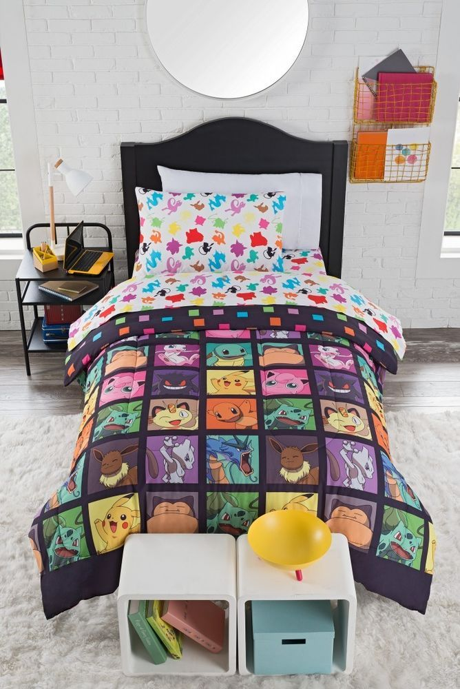 Girls Comforter Set Bed In A Bag Kids Bedding Set Shams Sheets Twin Pokeman New #Pokemon
