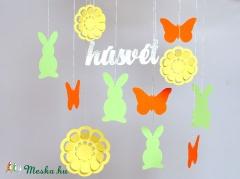 Nyuszis húsvéti függő dekoráció parti húsvét dísz gyerekszoba babaszoba nyúl (kreativpercek) - Meska.hu. Easter decoration hanging.