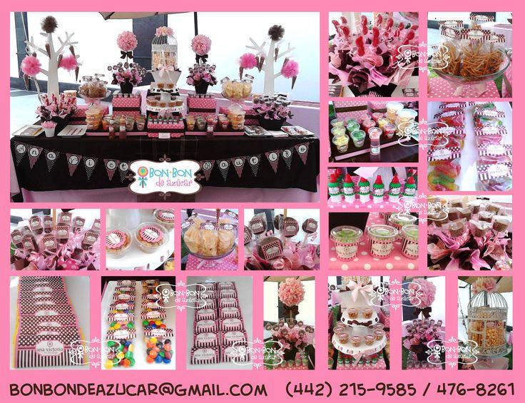 Mesa de dulces y snacks para bautizo en rosa y chocolate ...
